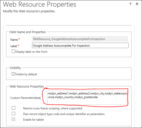 Google Address Auto Complete for Dynamics 365 on Form Field